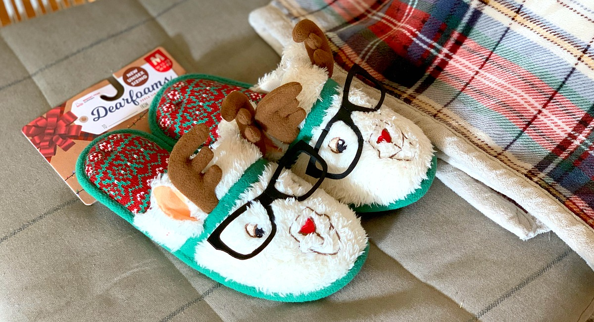 gift guide for women — dearfoams ugly christmas sweater slippers