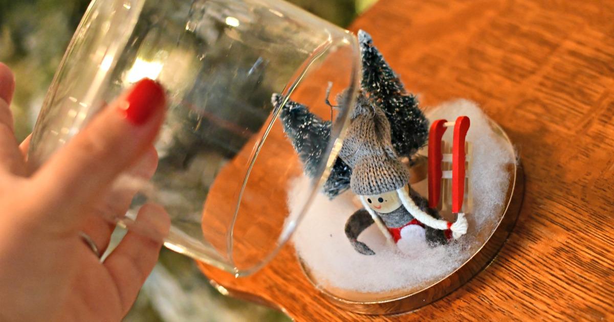 candle jar diy christmas snow globe – putting the top on the snow globe