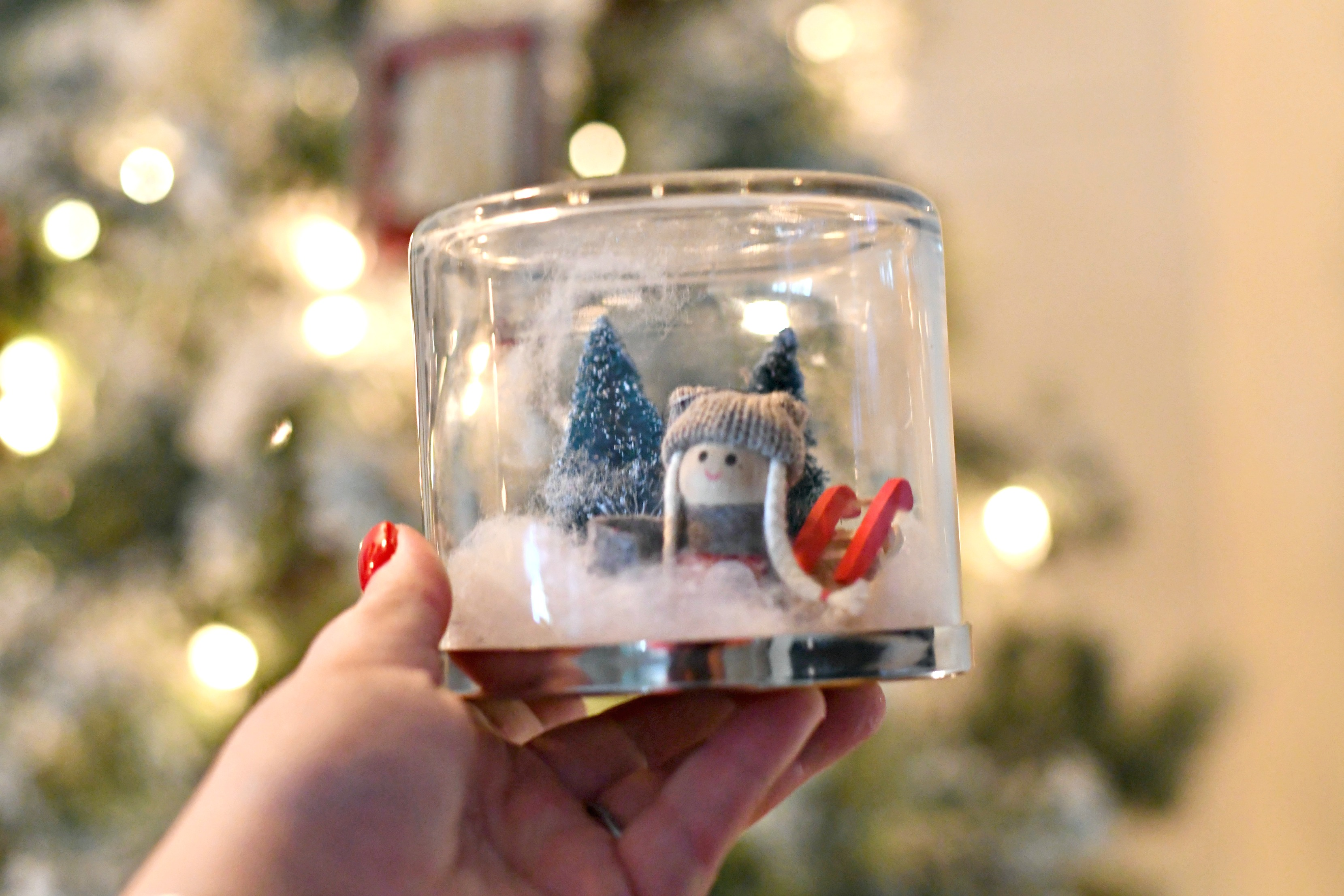 Bed Bath & Beyond Candle Jar into a DIY Snow Globe
