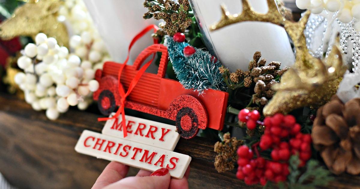 diy dollar tree christmas centerpieces – closeup of a centerpiece