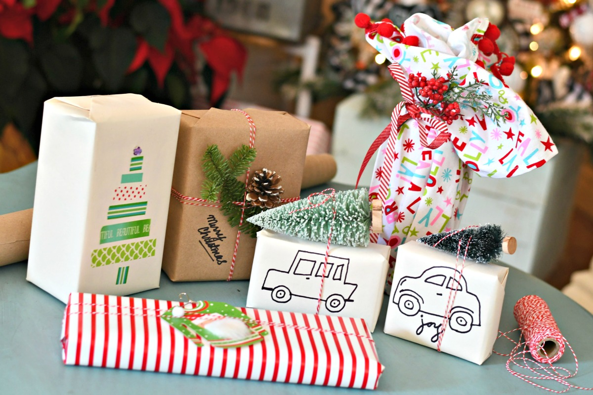 hand-decorated and wrapped Christmas gifts