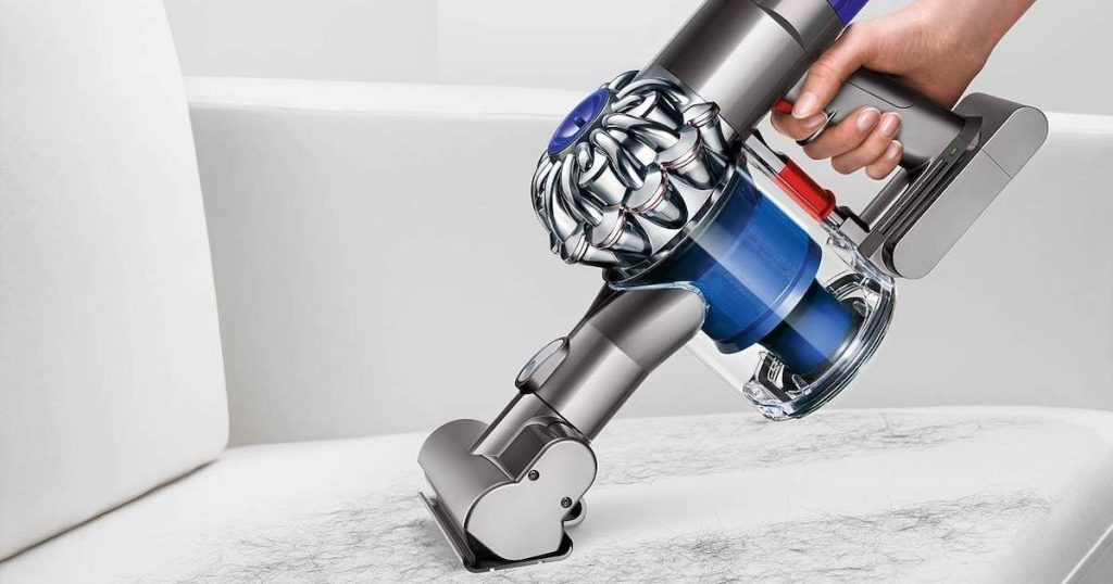 dyson v6 fluffy vacuuming stairs