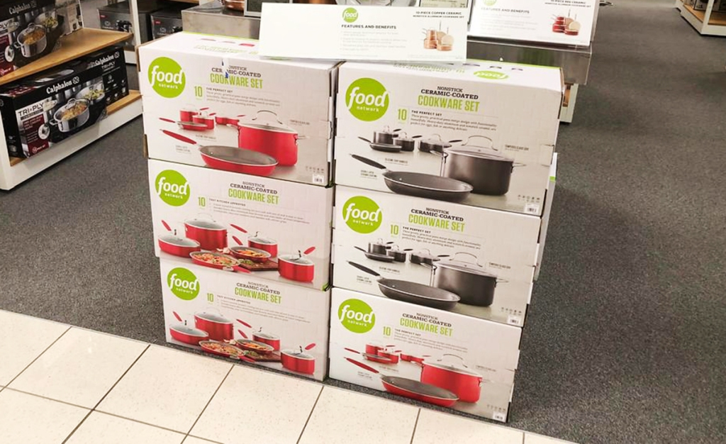 display of Food Network cookware box sets