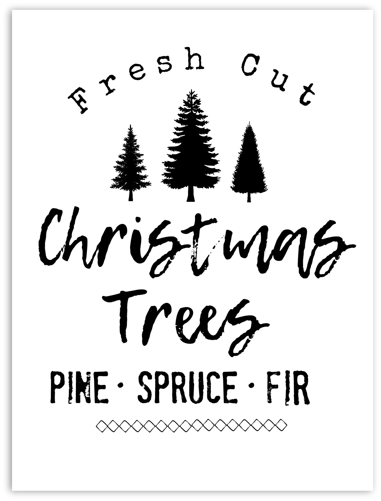 Printable Christmas Tree.Diy Farmhouse Style Christmas Tree Sign Free Printable