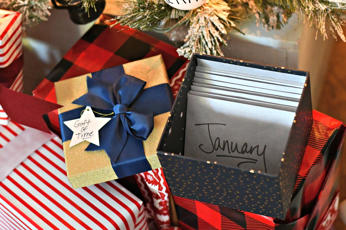 time christmas new years idea – the finished gift box under a tree