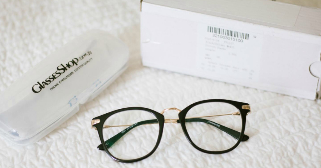 Example glasses frame plus shipping box and case for the glassesshop promo code deal