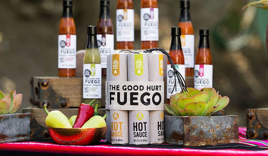 gift guide for men — the good hurt fuego hot sauce dynamite set