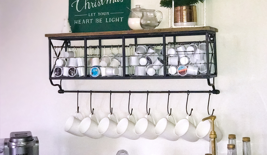 gift guide for coffee lovers — coffee shelf with baskets from hobby lobby