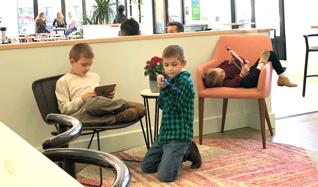 kids playing on devices
