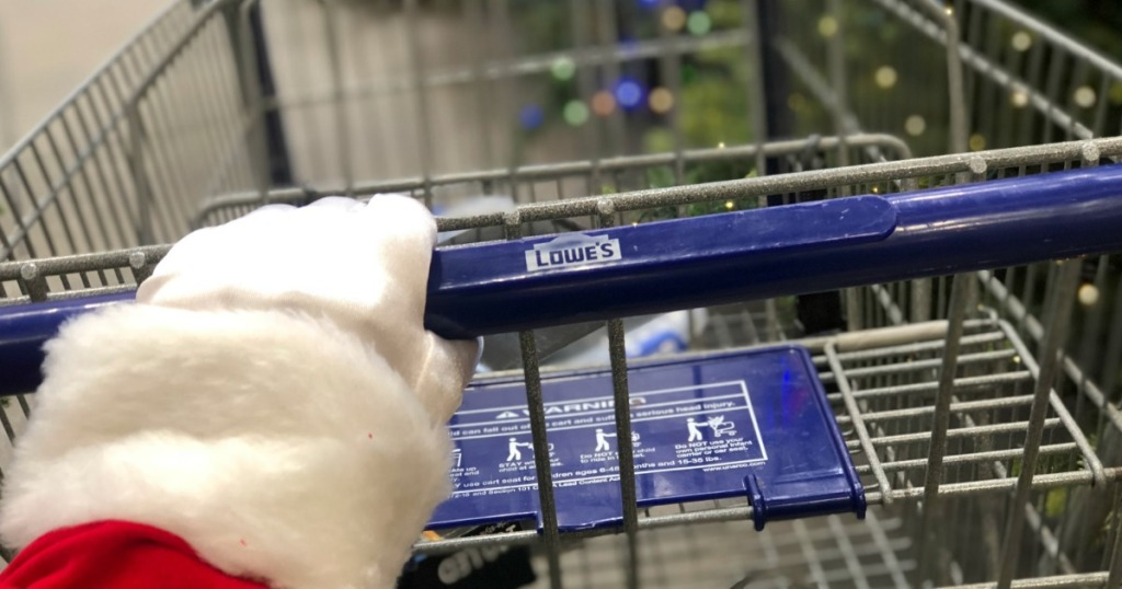 Santa pushing Lowe's Cart