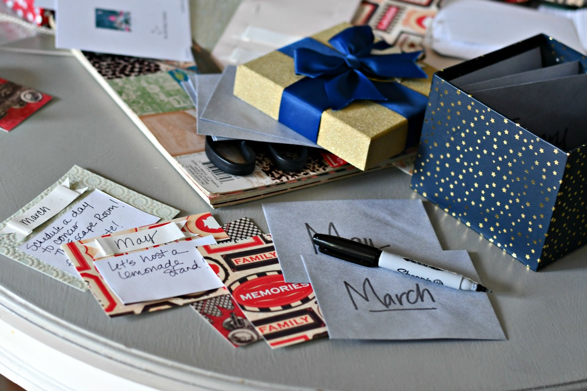 time christmas new years idea – cards and supplies on the table