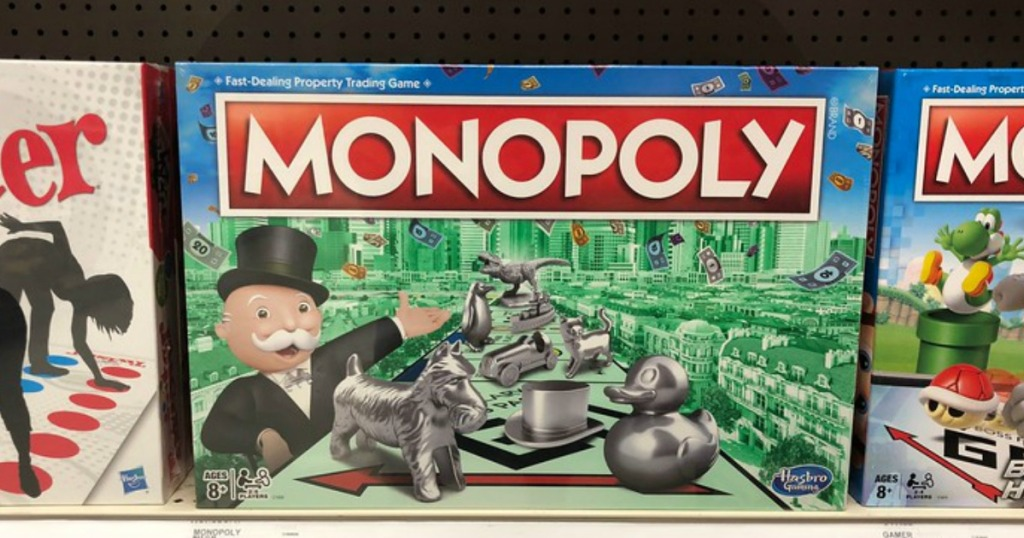 classic monopoly board game box on a store shelf