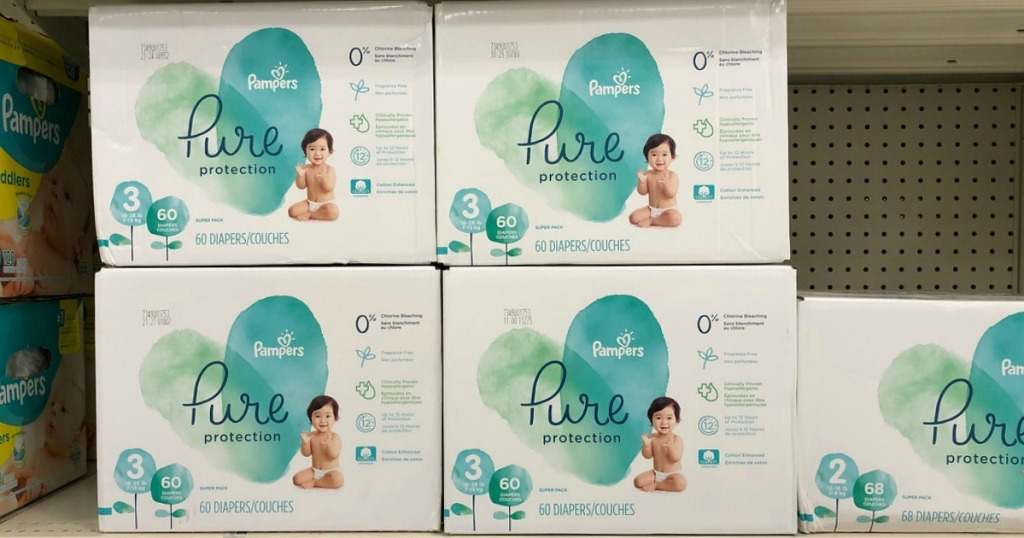 pampers pure diapers on shelf