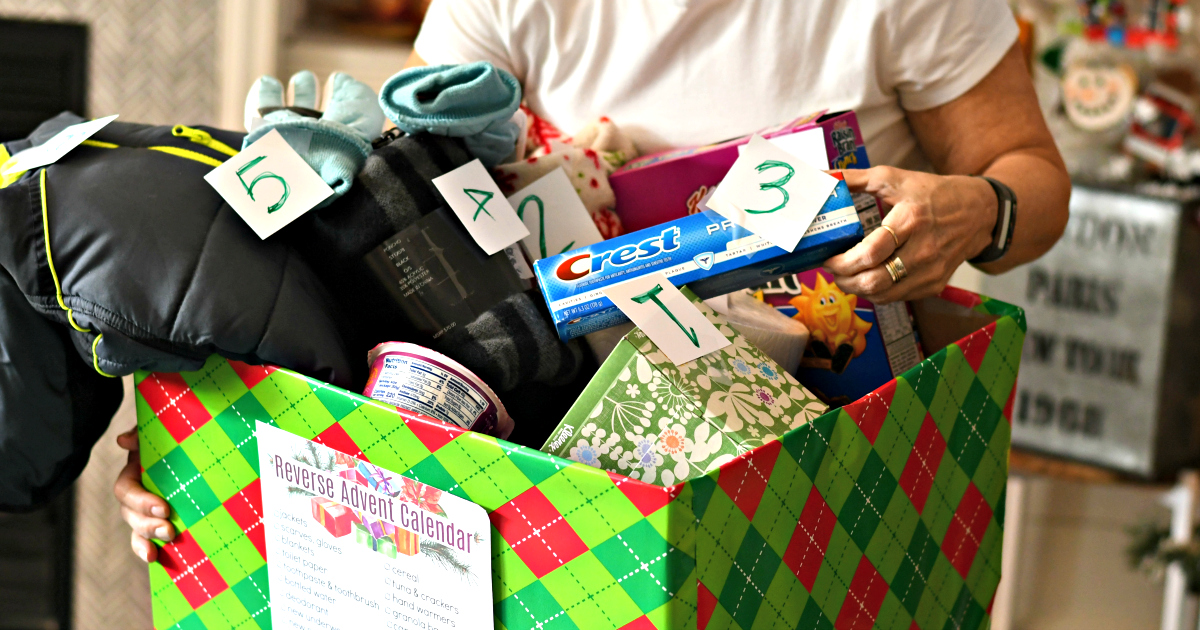 give back: Reverse Advent Calendar box filled with items