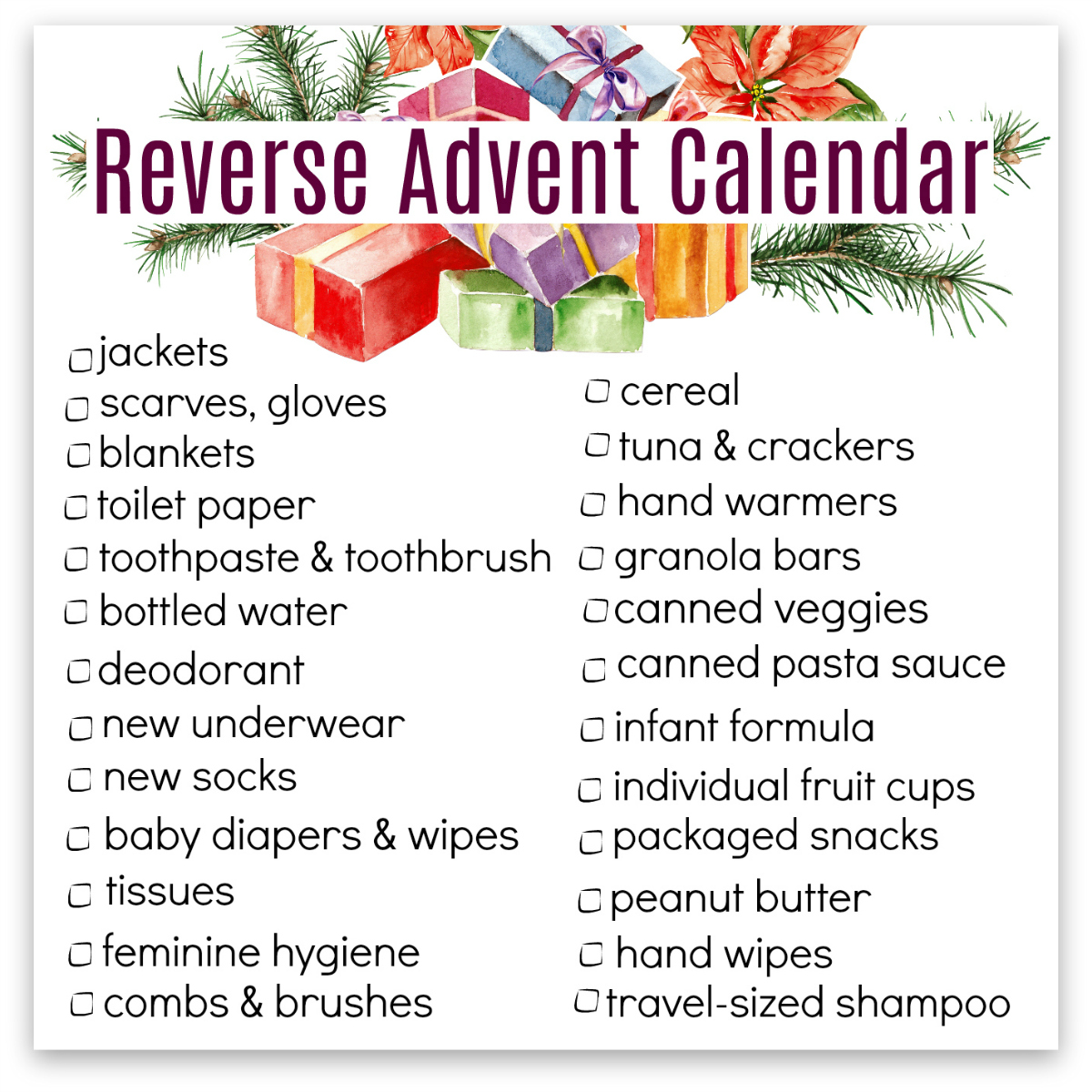 Reverse Advent Calendar - the PDF printable