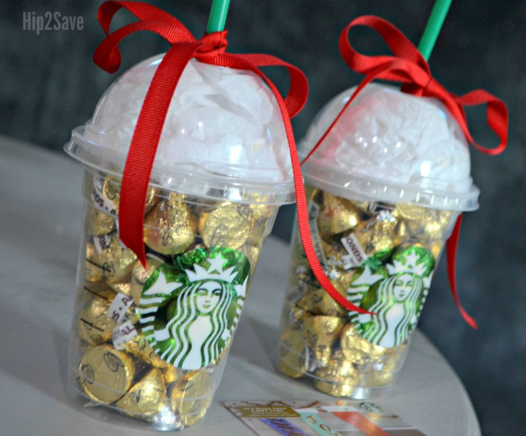 Starbucks cups filled with candy