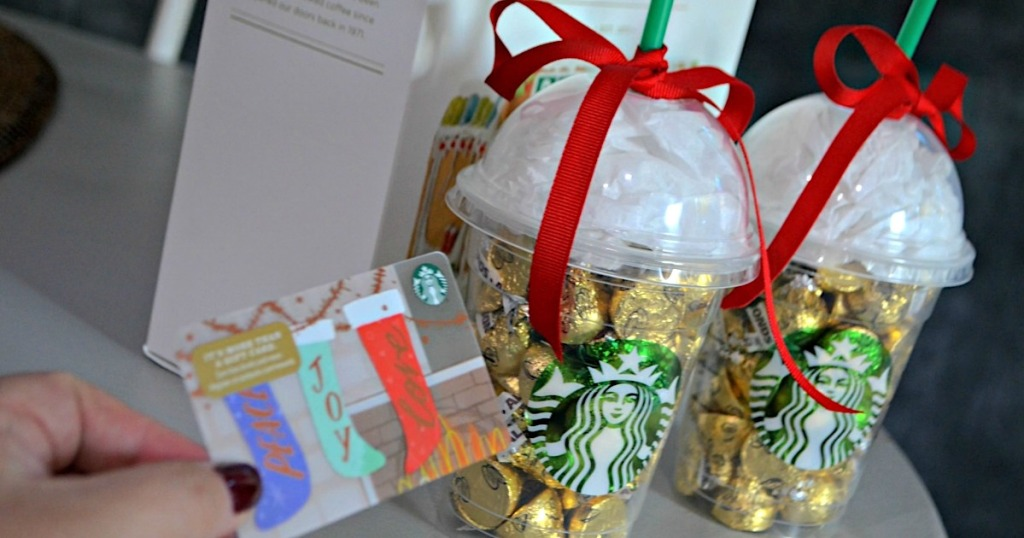 holding Starbucks gift card next to DIY Starbucks cup gifts