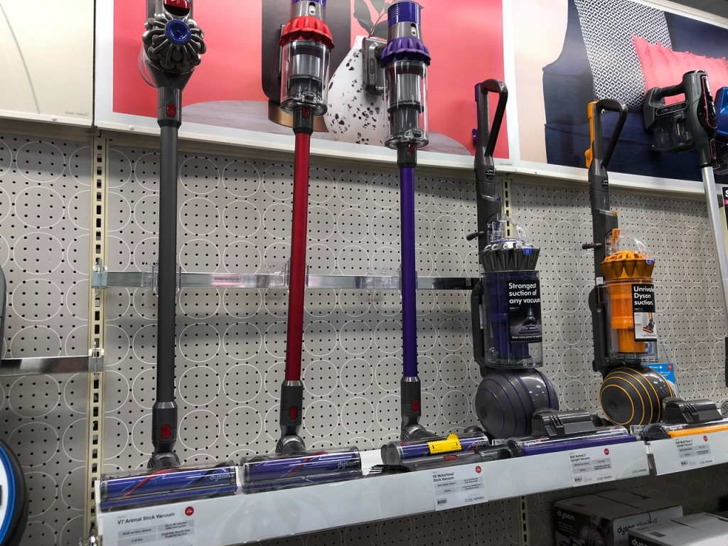 row of vaccums on display at store