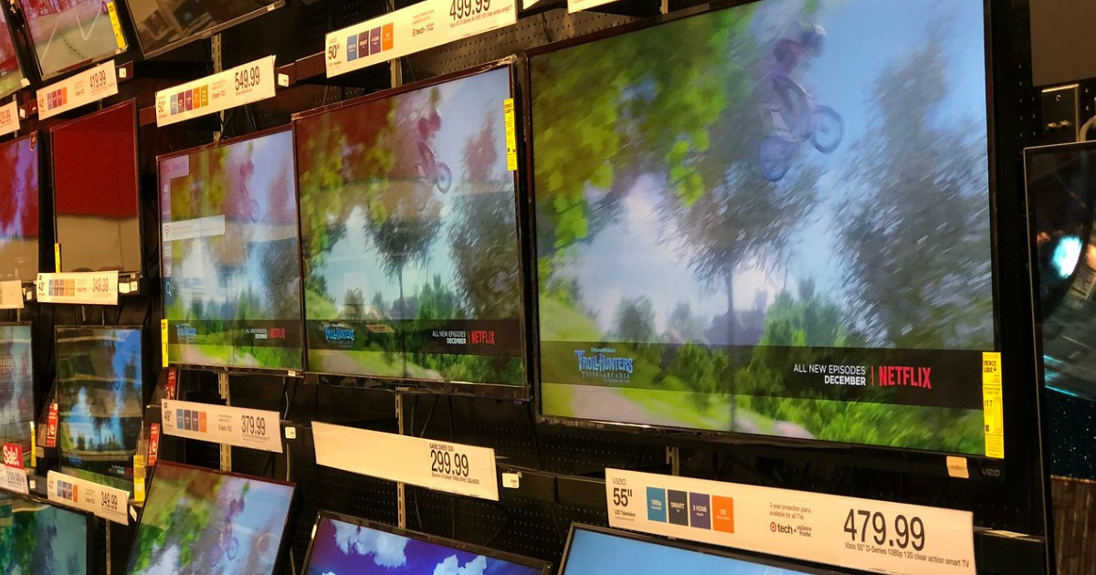 In-store display of TVs