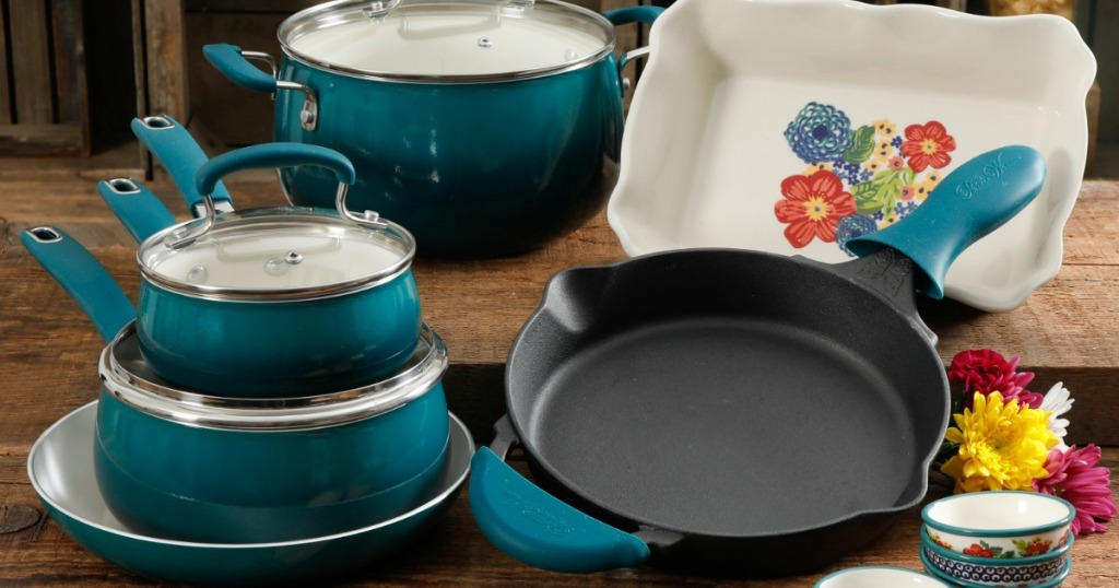 The Pioneer Woman 17 Piece Cookware Combo Set Just 59