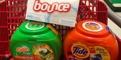 70% Off Tide Pods, Gain Flings and Bounce Dryer Sheets After Target Gift Card & Cash Back