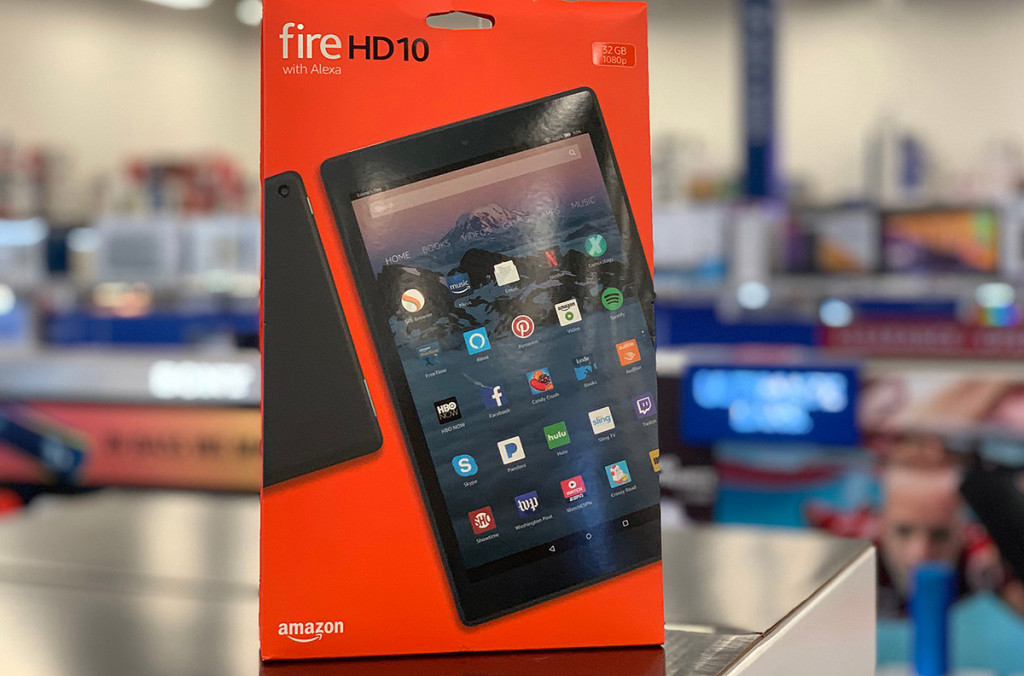 Fire HD 10 tablet sitting on electronics counter at store