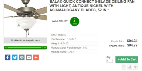 J&G: BALA 5-Blade Ceiling Fan with Light Just $84.77