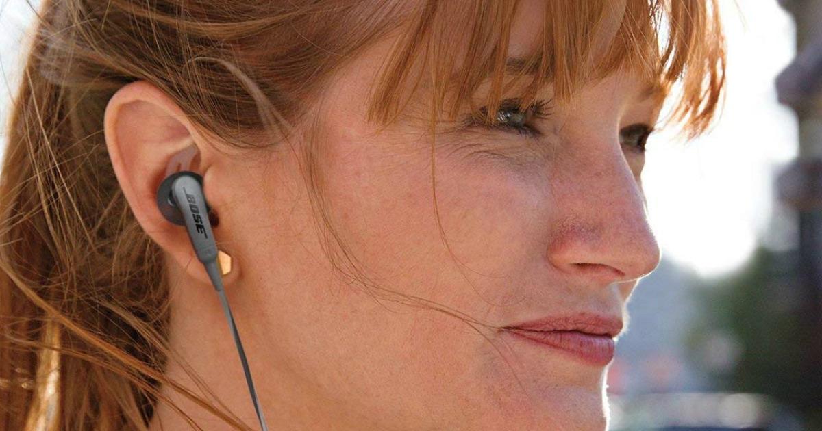 woman wearing bose headphones