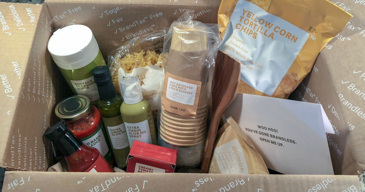 Brandless Products in the shipping box