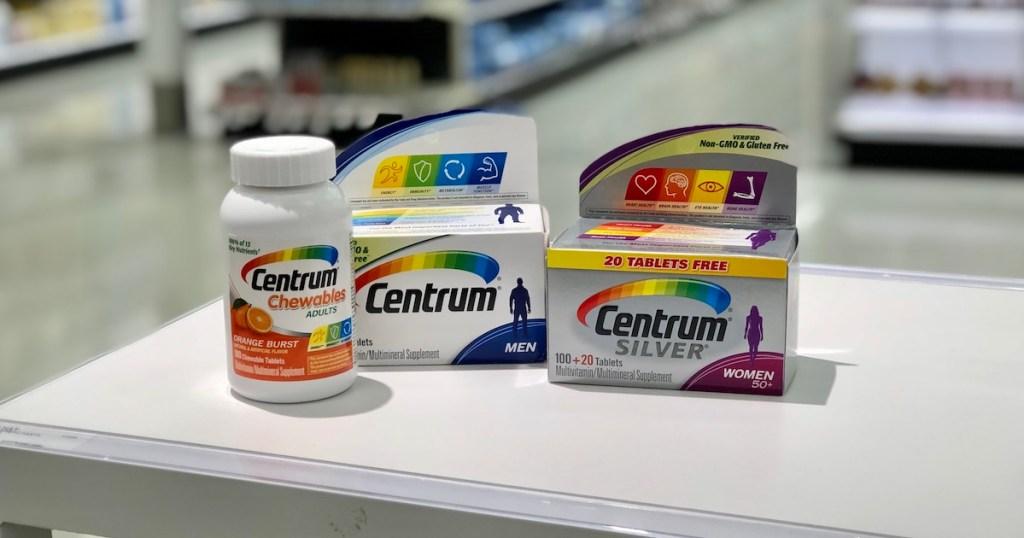 centrum vitamin on white counter