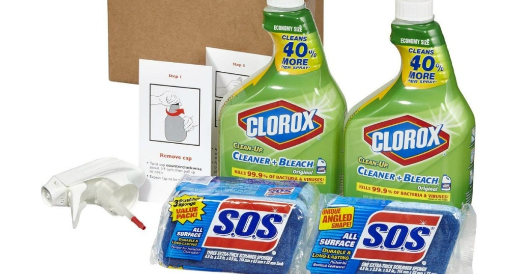 Clorox Clean-Up Bleach Cleaner Spray and S.O.S All Surface Scrubber Sponge Value Pack original 2