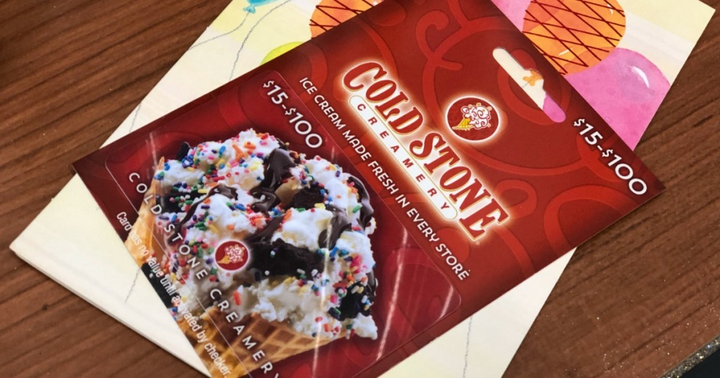 cold stone gift card on table