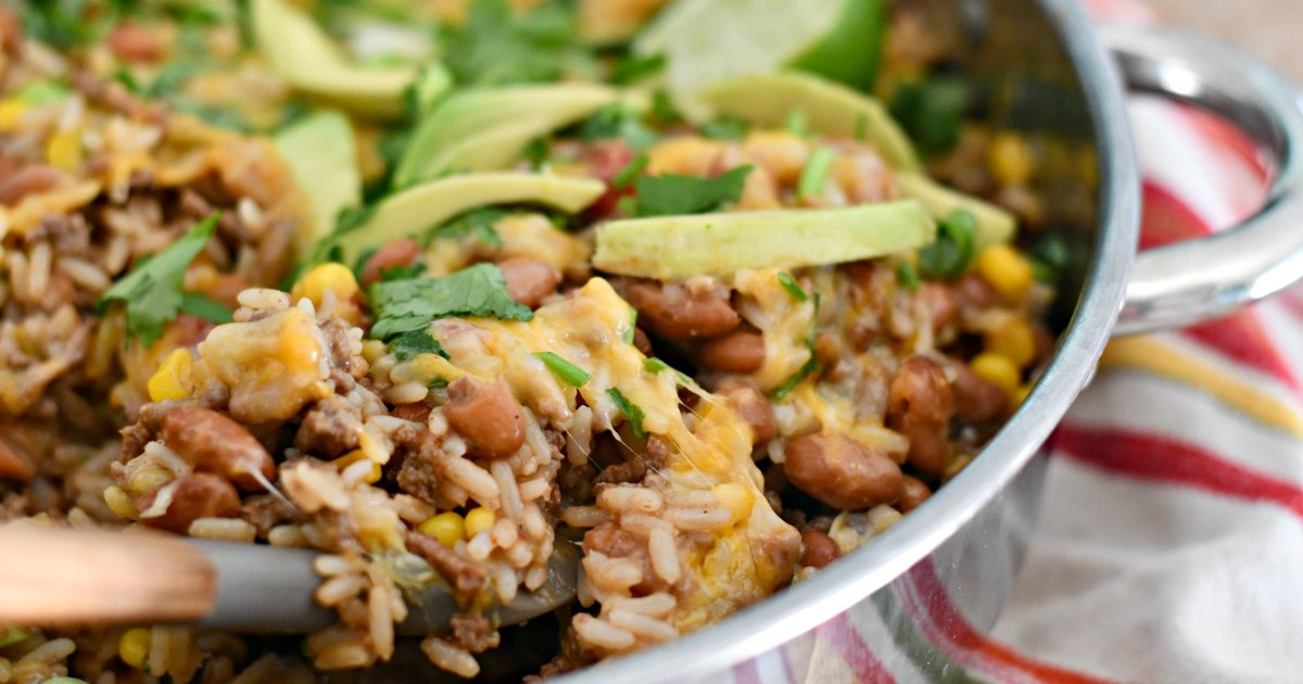 taco rice beans skillet casserole – cooked in the pan and ready to serve