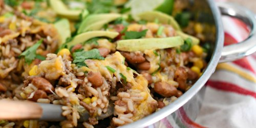 Taco Rice and Beans One-Skillet Casserole (Easy Dinner)