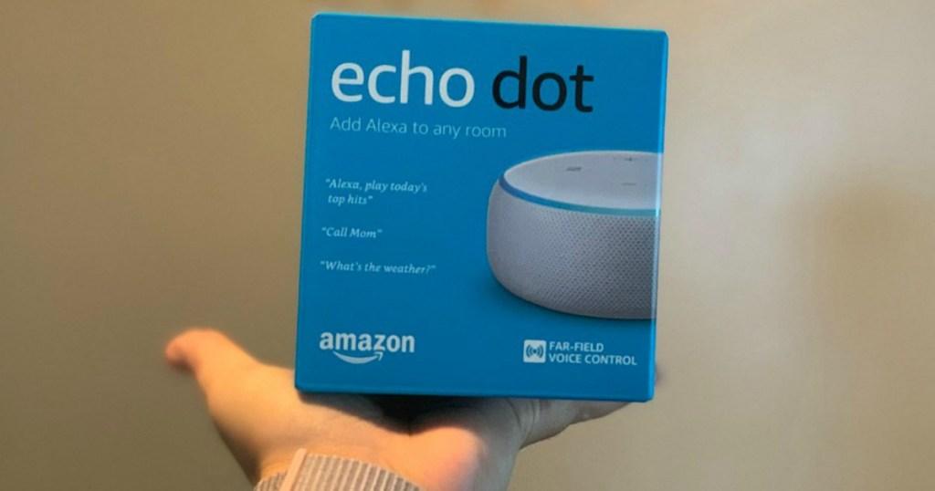 Amazon Echo Dot in hand in store