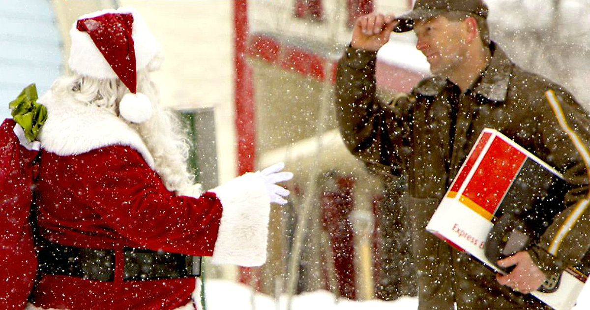 christmas holiday shipping deadlines 2018 – Santa getting a package from UPS