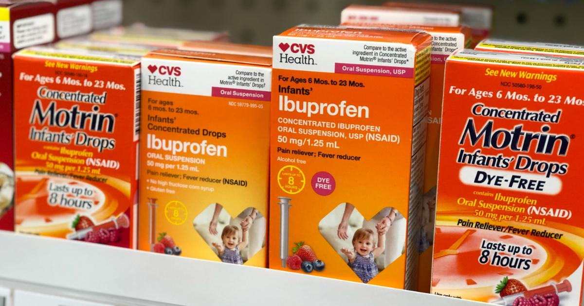 infant ibuprofin recall walmart cvs – medicine on a store shelf