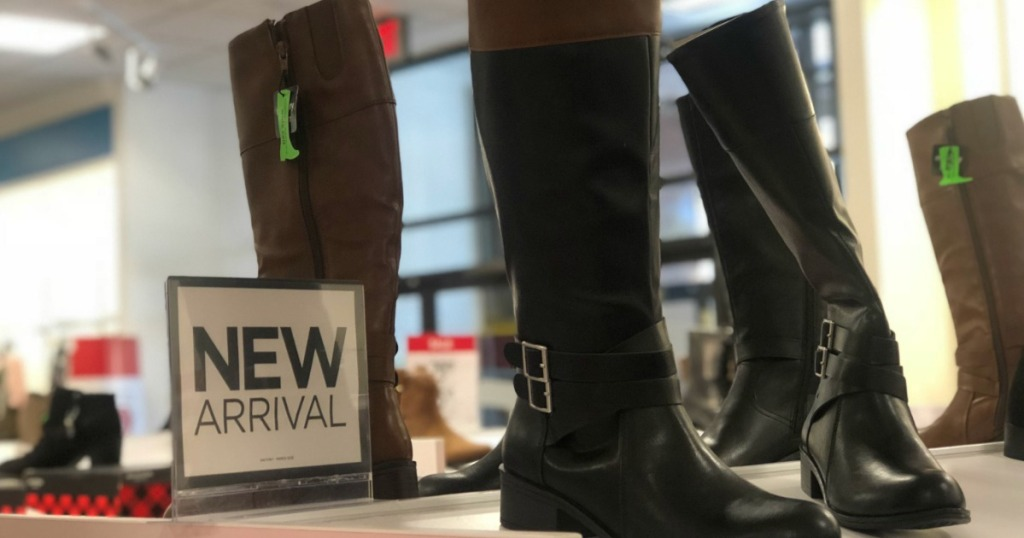 row of boots on display at JCPenney