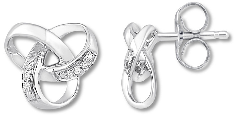 aca95d882 Check out this deal . . . Diamond Knot Sterling Silver Earrings $69.99