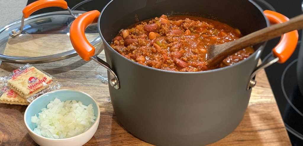 Wendys Famous Chili Copycat Recipe - pot of chili ready to serve