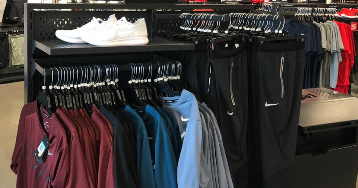 nike clothes on a store rack