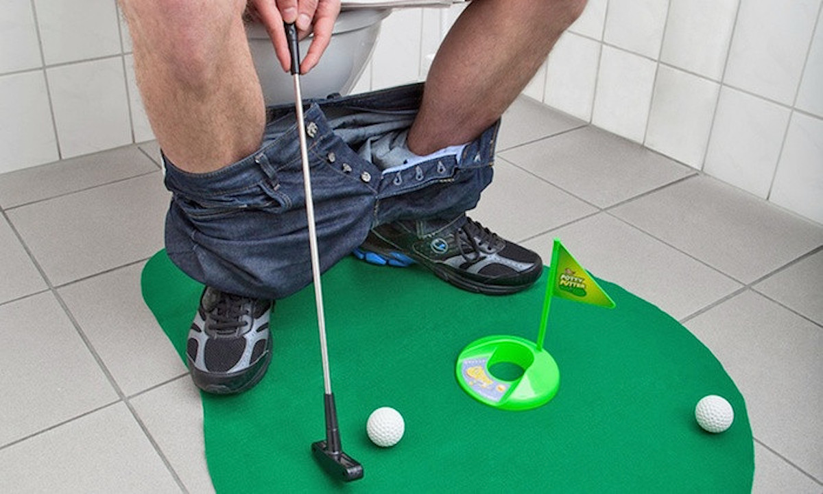 White Elephant Gifts, Gag Gifts, Funny Gift Ideas – Potty Putter Toilet Time Golf Game