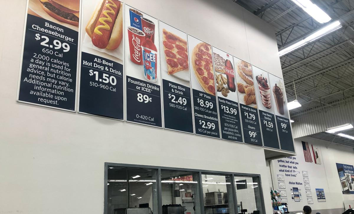 Sam's Club Food Court ordering menu signs