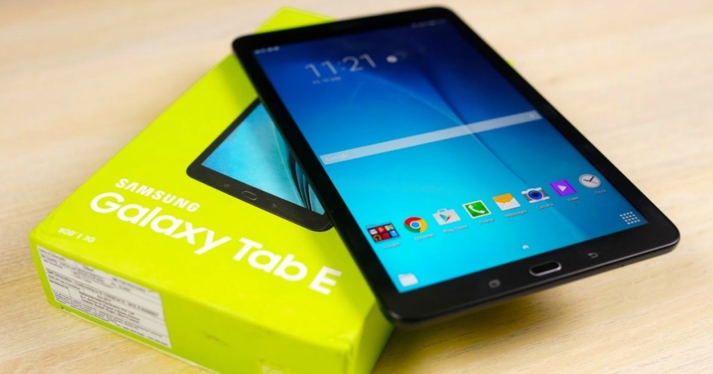 Samsung Galaxy Tab E 9.6 16GB Tablet sitting on a countertop