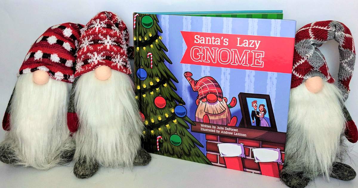Santa's Lazy Gnome is like Elf on a Shelf – pictured here with book