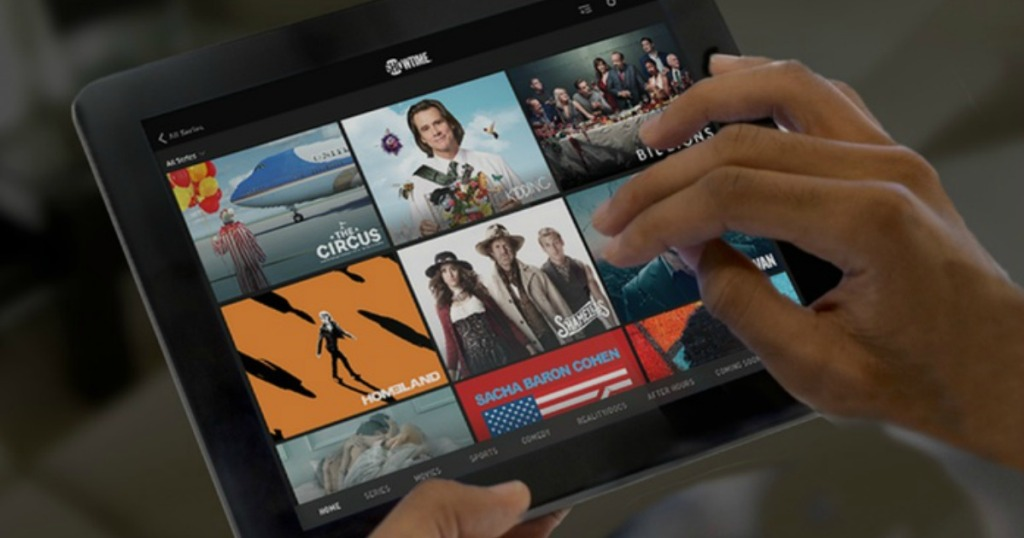 person with Showtime on their tablet