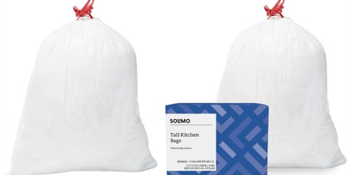 Amazon: Solimo Tall Kitchen Drawstring 200-Count Trash Bags Just $15.74 Shipped