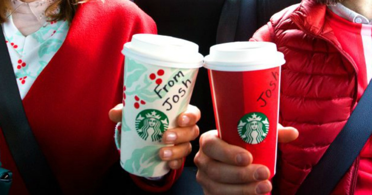 uber free bogo starbucks coupon – two riders with Starbucks cups