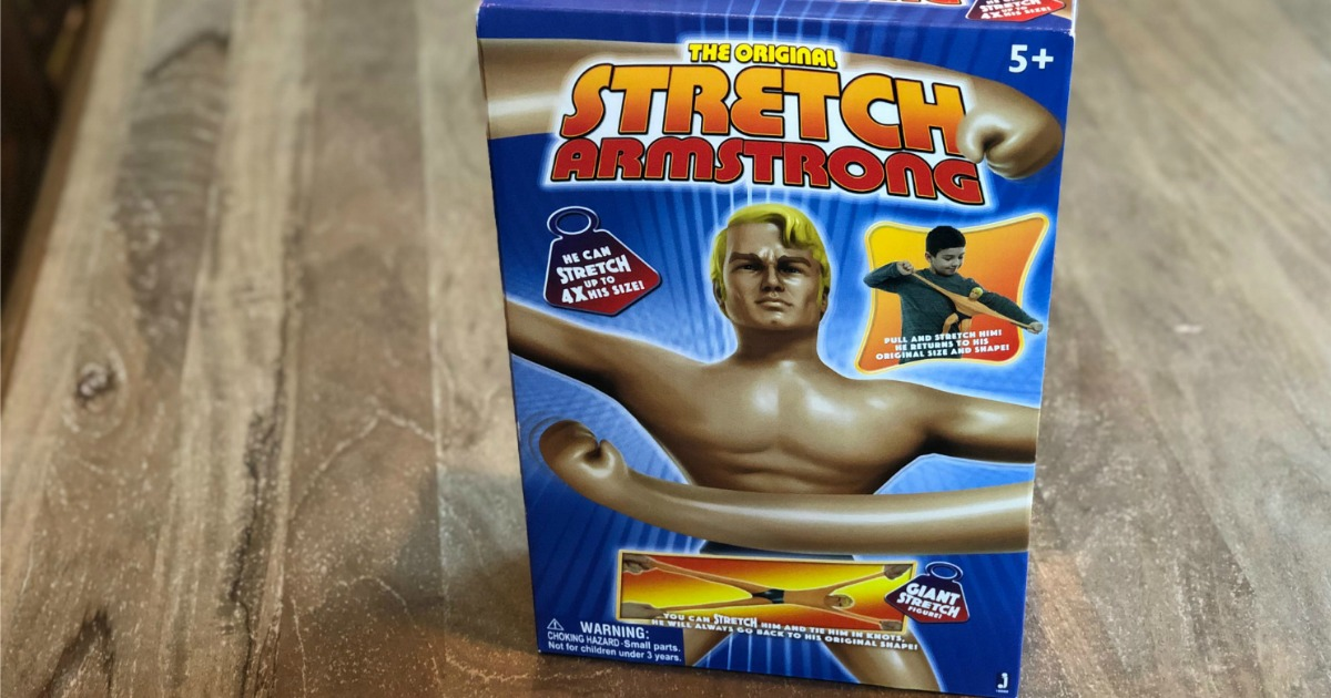 Stretch Armstrong in box setting on table