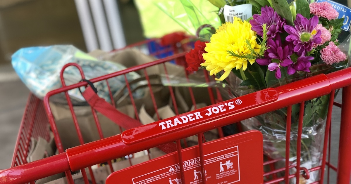 best trader joes items – grocery cart with flowers